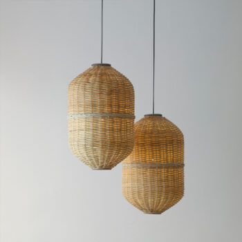Lámpara de mimbre natural realizada a mano por artesanos