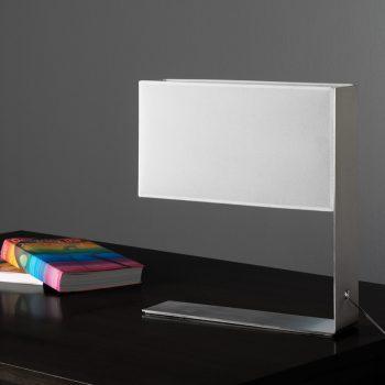 Lámpara de mesa blanca de diseño geométrico rectangular
