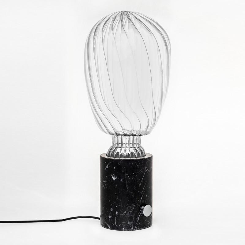 Lámpara de diseño de mesa de mármol y cristal