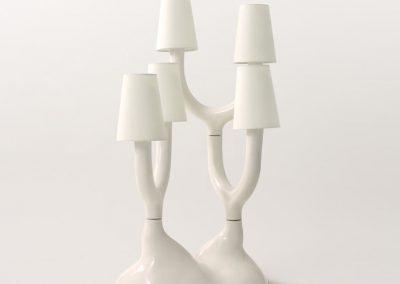 Lámpara blanca de cerámica con diseño de árbol